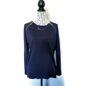 Michael Kors Zip-shoulder Navy Crewneck Sweater-L
